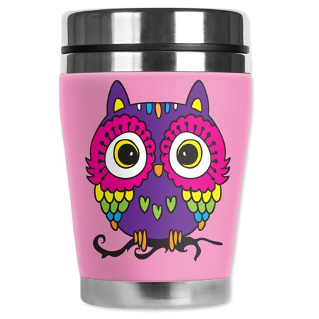 Mugzie brand 12-Ounce Travel Mug with Insulated Wetsuit Cover - Pink Owl