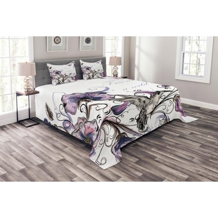 Hummingbird Bedspread Set, Flowers Leaves Bird and Classic Patterns Curvy Lines Ornament Nostalgic Art, Decorative Quilted Coverlet Set with Pillow Shams Included, Purple Black, by -
