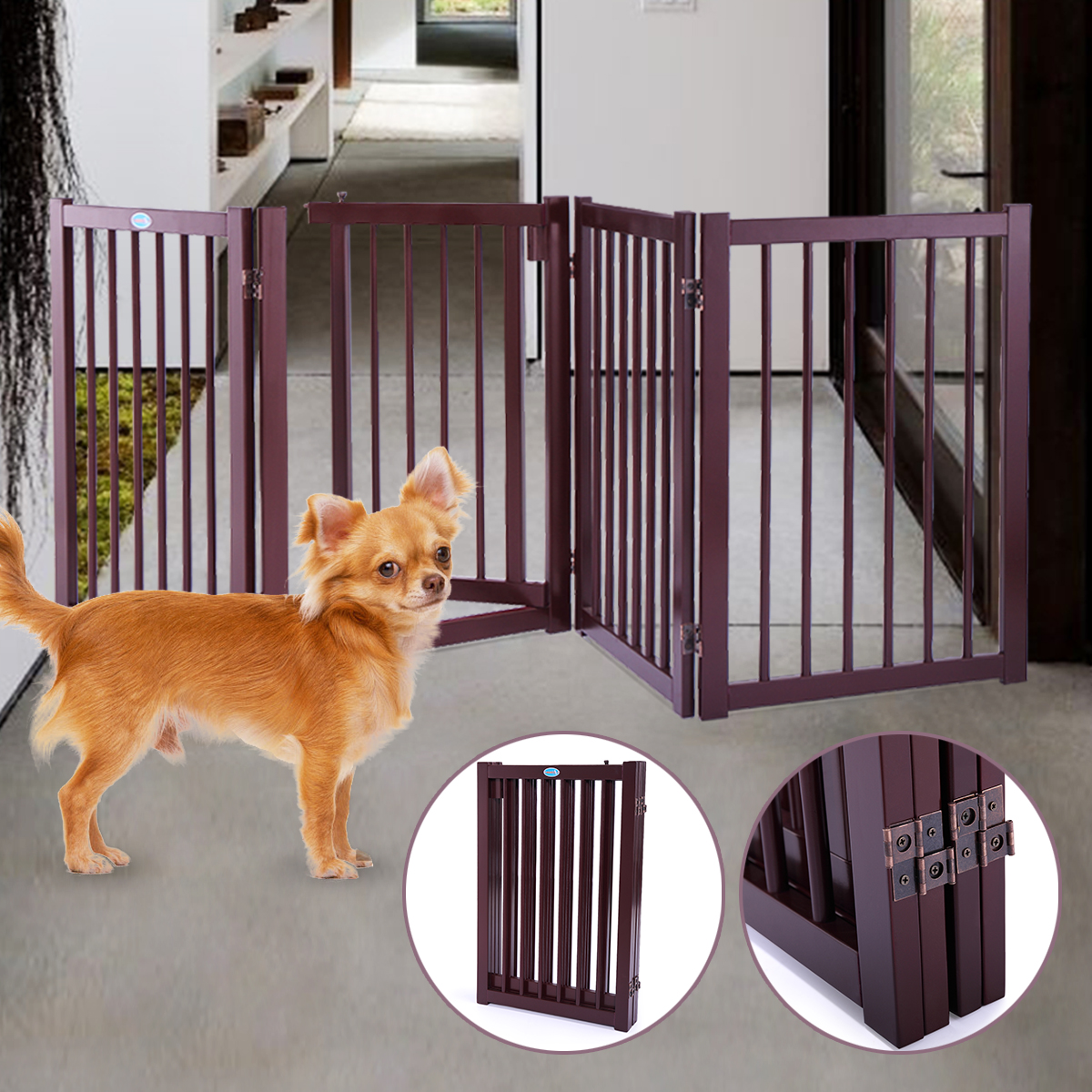 "30"" Pet Fence Gate Free Standing Dog Gate Indoor Solid Wood Construction"