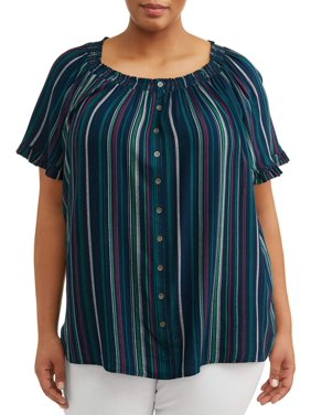 7c63801a Product Image Women's Plus Size Woven Plus Size Peasant Top