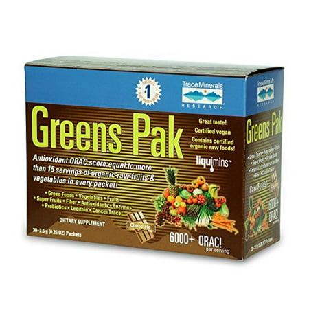 Trace Minerals Verts Pak - Chocolat - 30 Packets   Valeur ORAC 6000 +   Antioxydant puissant