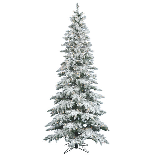 Vickerman Flocked Utica Fir 10' White Artificial Christmas Tree with 700 Clear Lights with Stand