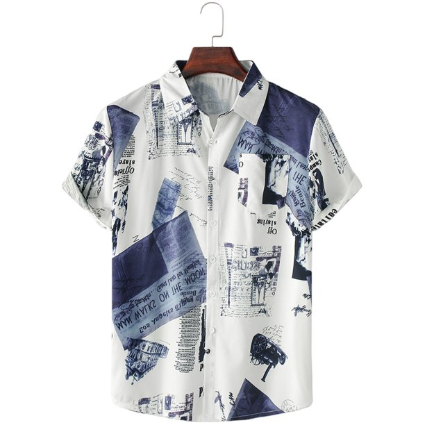 Colisha Men Summer Funky Hawaiian T Shirts Button Down Shortsleeve Comfort Tops Fishing Camp Beach Shirt