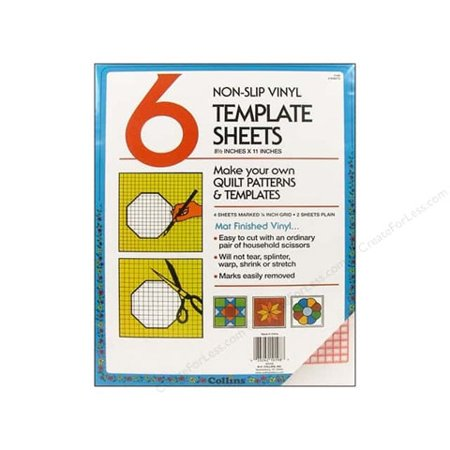 Collins Template Sheets: Non-Slip Vinyl, 8.5 x 11 inches, 6