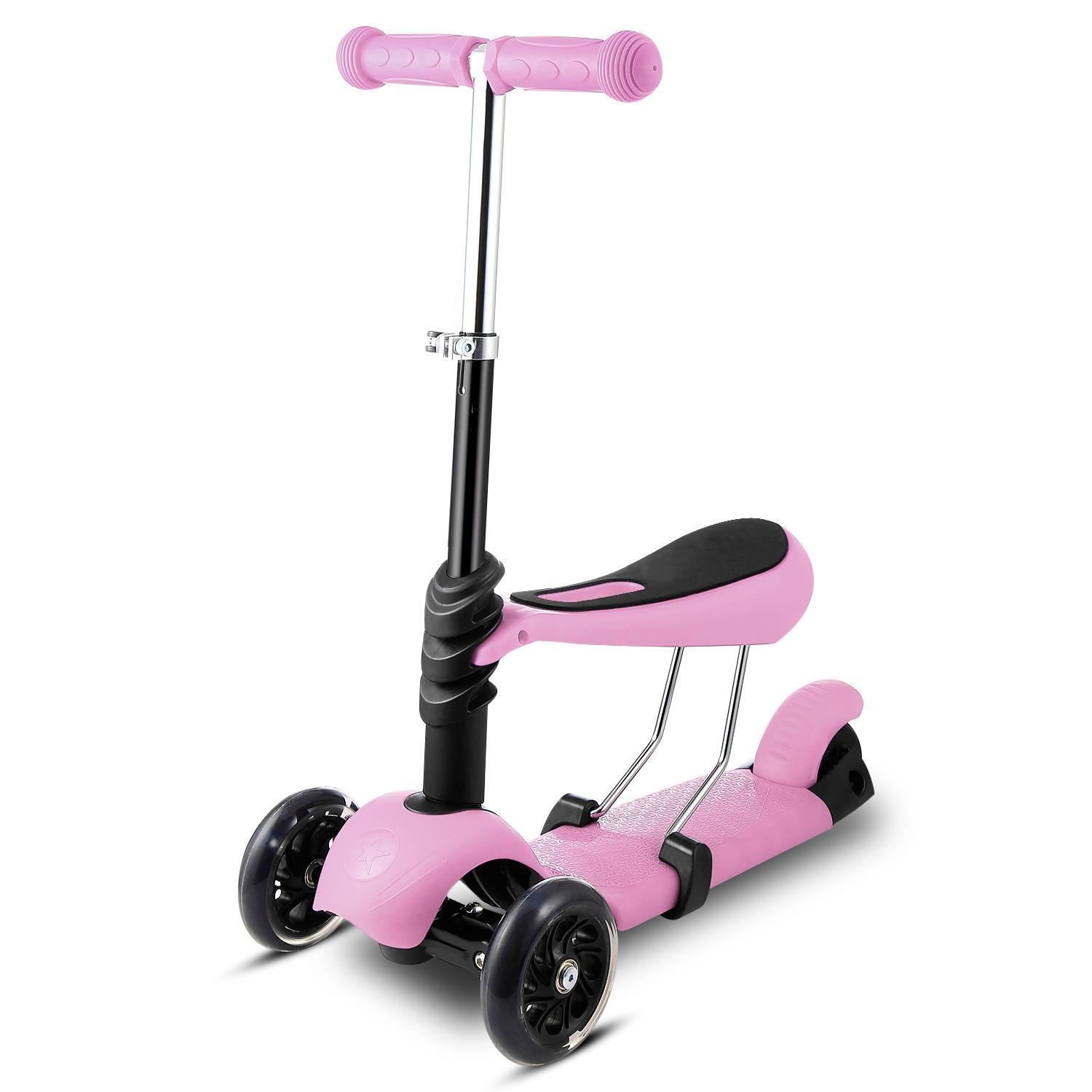 Kids 3 Wheel Mini Kick Scooter, 3-in-1 Toddler Scooters with Adjustable Handle T-Bar & Seat for Boys Girls (Age 3-10)