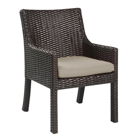 Emerald Home Metro Ii Brown Outdoor Dining Arm Chair With All Weather Wicker And Sunbrella
