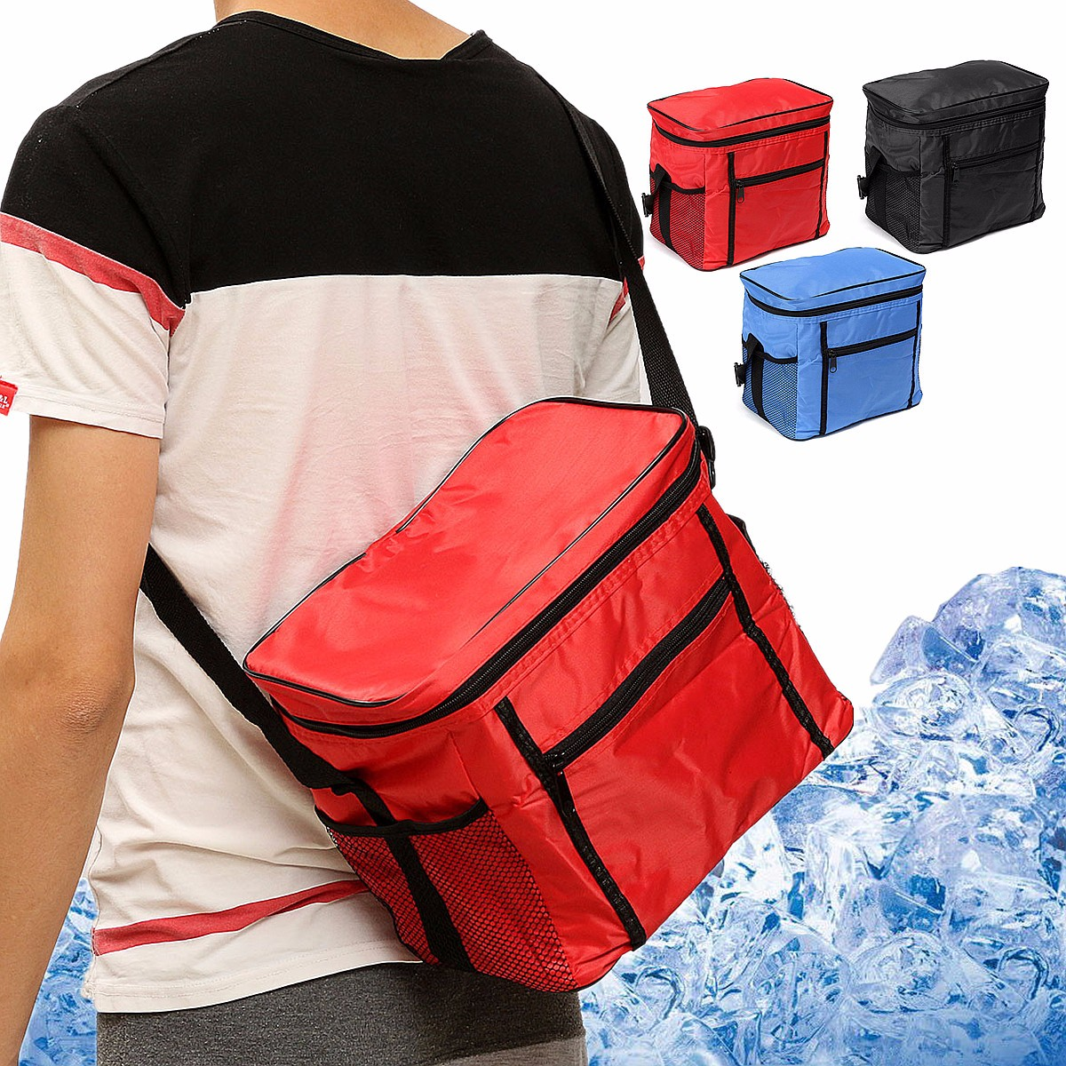 Insulation Bag, Waterproof Travel Thermal Cooler Picnic Lunch Box Insulated Tote Ice Wine Bag( 27.5x17x24.5cm/10.83x6.69x9.65'')