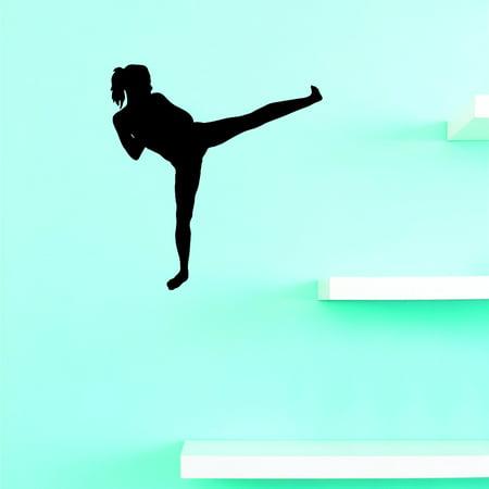 Custom Wall Decal Karate Fighting Team Sports Girl Teen Vinyl Wall Decal Sticker 10x20 Inches