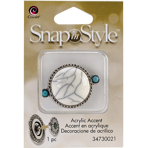 Snap In Style Acrylic Accent, 1pk, Cabochon White