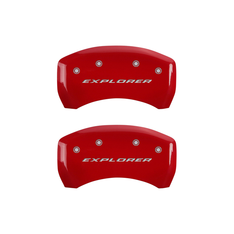MGP 4 Caliper Covers Engraved Front & Rear Explorer Red finish silver ch