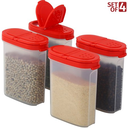 Ceramic Spice Box - Clear Plastic Square Empty Spice Storage Container with Lid – Mini Kitchen Bottle Dispenser for Herb, Rub, Sugar & More – 2-Way Pouring Sprinkle and Shaker, 100% BPA-Free and Food Safe – Airtight Seal