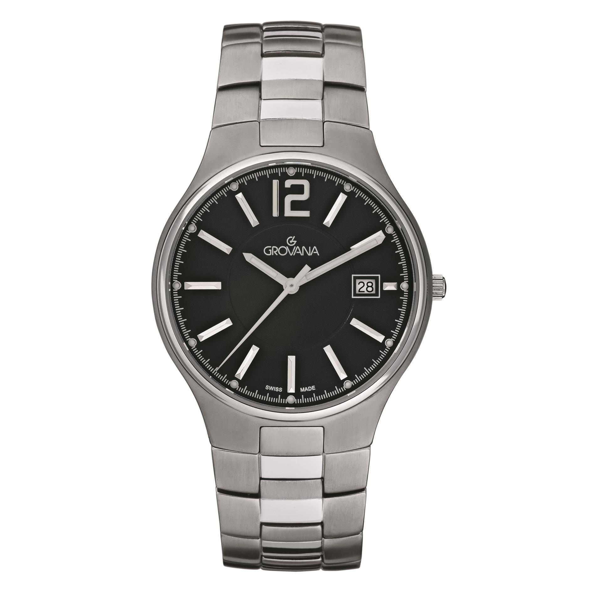 Grovana Men's Contemporary 39mm Silver-Tone Titanium Brac...