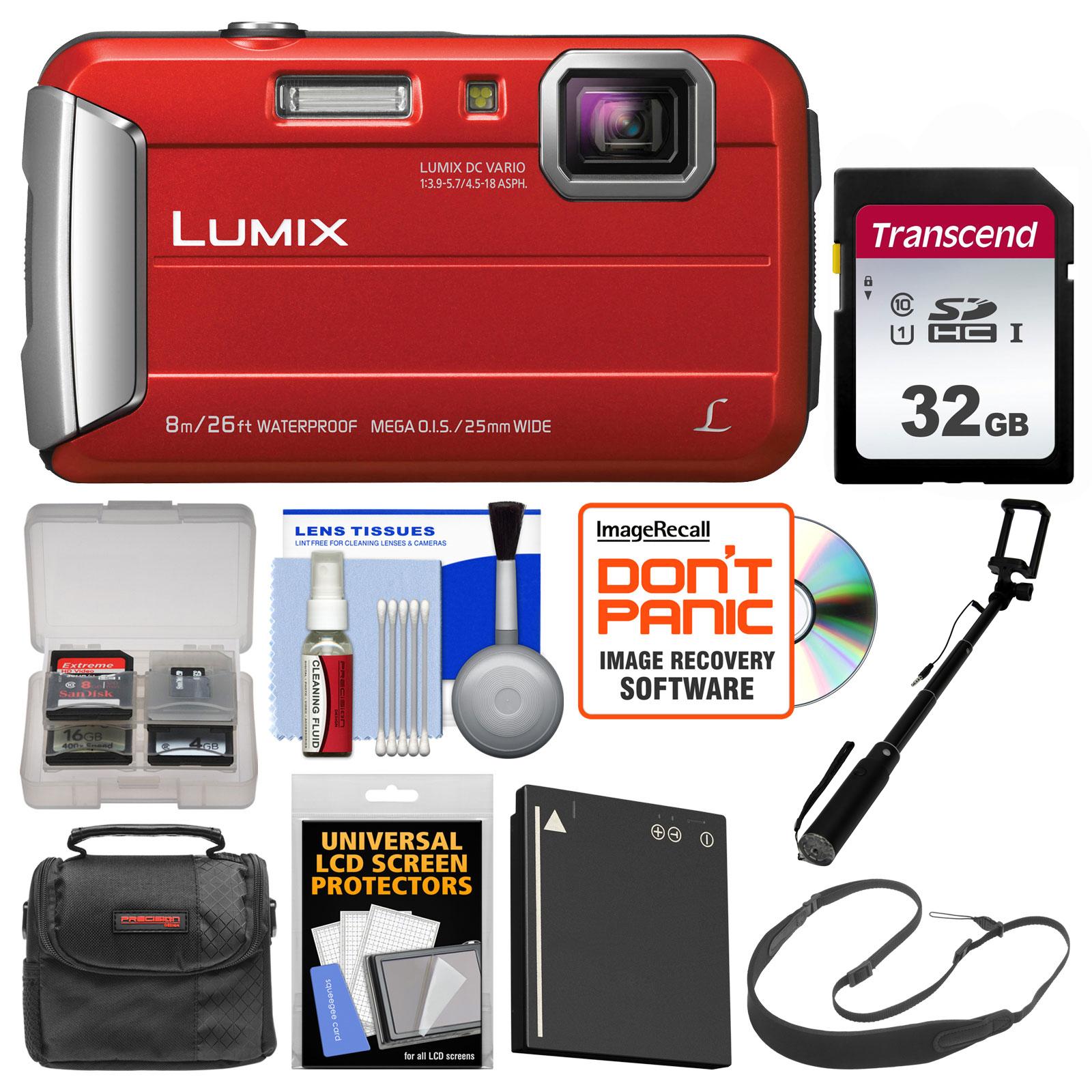 Panasonic Lumix DMC-TS30 Tough Shock + Waterproof Digital Camera (Red) with 32GB Card + Case + Battery + Selfie Stick Monopod + Sling Strap Kit