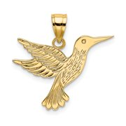 FB Jewels 14K Yellow Gold Hummingbird High Polish and Engraved Pendant