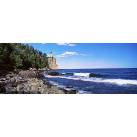 Lighthouse on a cliff Split Rock Lighthouse Lake Superior Minnesota USA Poster Print by Panoramic - Lake Superior Brass
