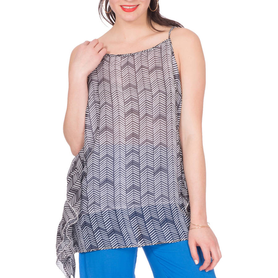 Plus Moda Women's  Printed Cold Shoulder Ruffle Top