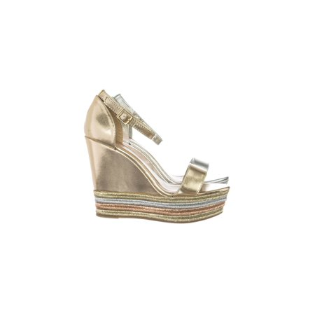 Choice27 by Bamboo, Metallic Multi Colored Espadrille Jute Wrap Platform Wedge Dress (Multi Colored Platform)