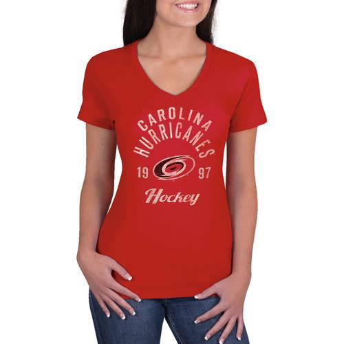 NHL Carolina Hurricanes Ladies Classic V-Neck Tunic Cotton Jersey Tee