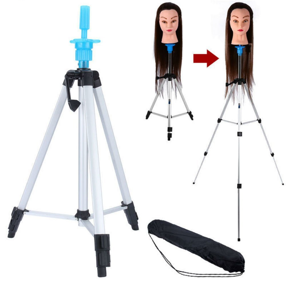 """Mannequin Head Holder Tripod Stand, Portable 55"""" Aluminum Alloy Adjustable Hairdressing Wig Head Stand Tripod, Stand Holder for Beauty Hair Salon Hairdressing Training with Carry Bag"""