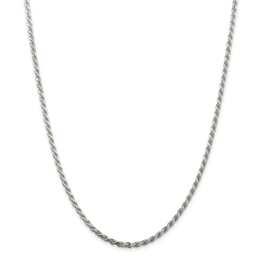 Sterling 20in Silver Rhodium Plated 2.75mm D/C Rope Necklace Chain