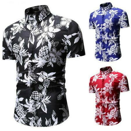 Men Hawaiian Shirt Beach Shirt Flower Party Summer Holiday Tops Short Sleeve Tee](Hawaian Shirts)