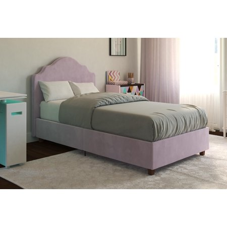 DHP Savannah Upholstered Bed, Multiple Sizes, Multiple Colors (Bedroom Pine Bed Frame)