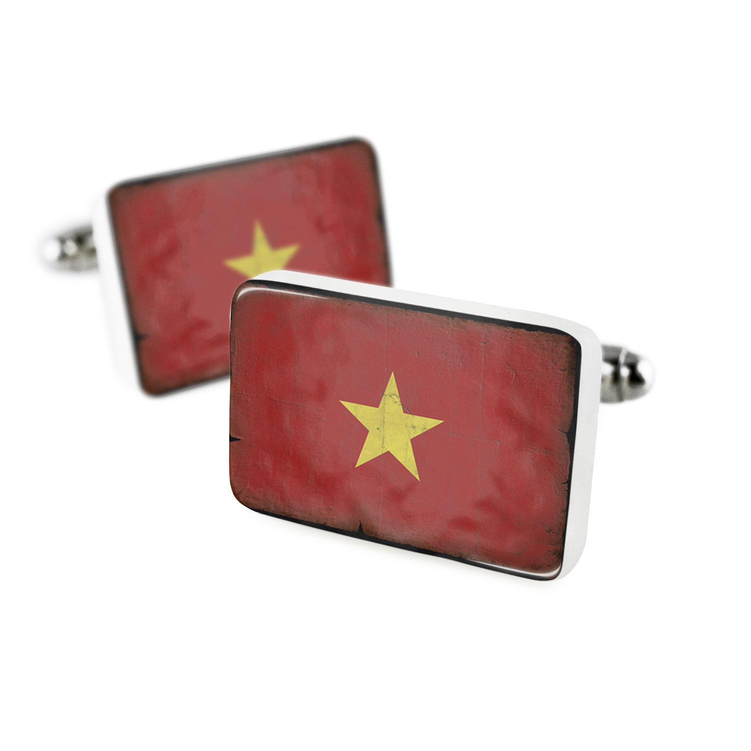 Cufflinks Vietnam Flag with a vintage lookPorcelain Ceramic NEONBLOND by NEONBLOND