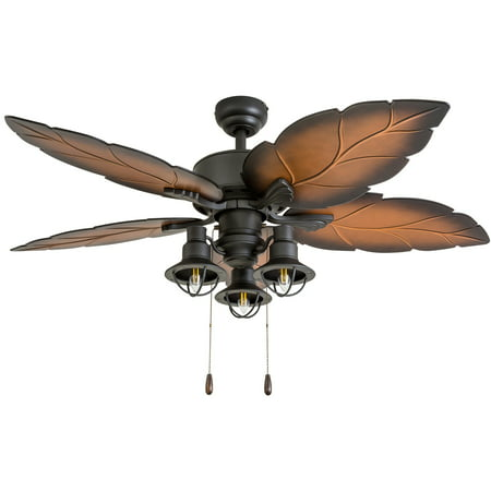Mission Indoor Ceiling Fan (Prominence Home 50653-35 Ocean Crest Tropical 52-Inch Tropical Bronze Indoor Ceiling Fan, Lantern LED Multi-Arm Mocha Blades)