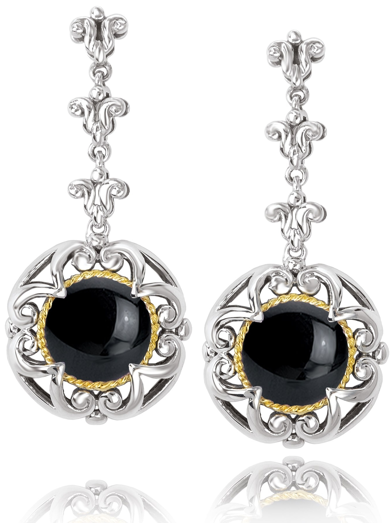 Avanti Sterling Silver and 18K Yellow Gold Round Black Onyx Dangle Earrings by Overstock