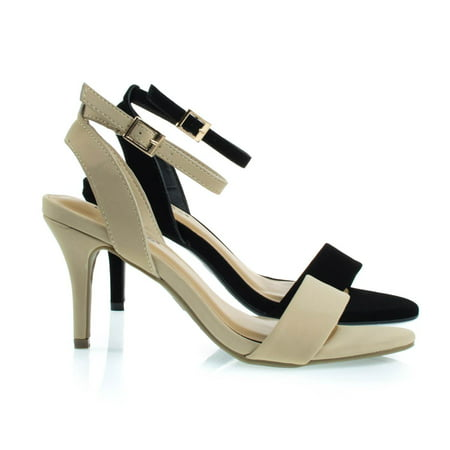 Harleen55 by Bamboo, Classic High Heel Dress Sandal w Ankle Wrap Straps and Single Band