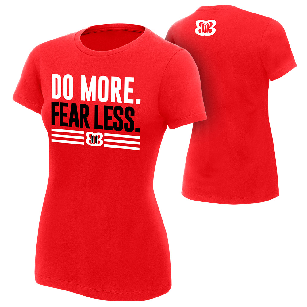 """Official WWE Authentic Nikki Bella """"Do More, Fear Less"""" Women's  T-Shirt Red Small"""