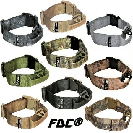 HEAVY DUTY Military Army Tactical Dog Collar HANDLE Width 1.5in Plastic Buckle with TAG HOLE sz M: Neck 12