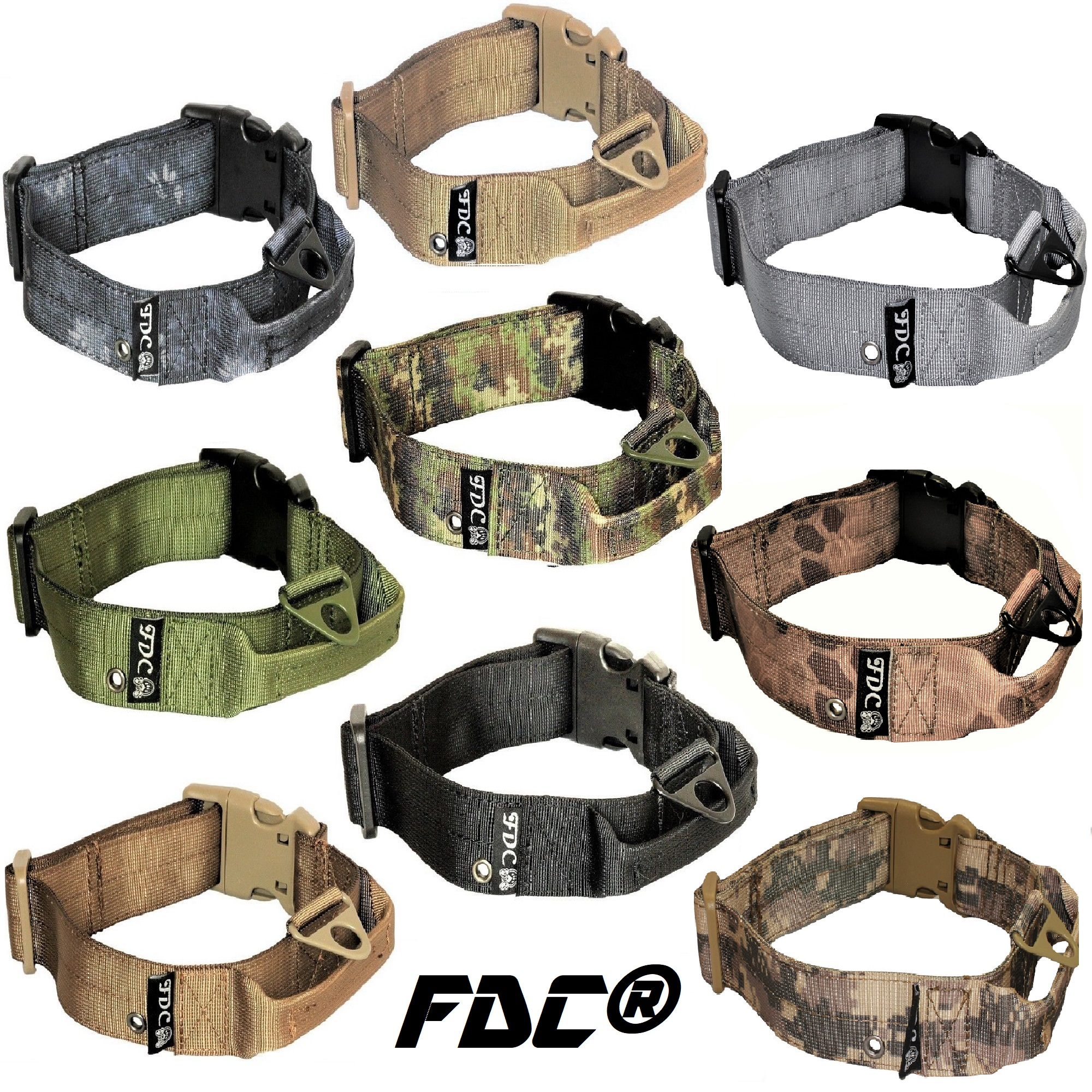 "HEAVY DUTY Military Army Tactical Dog Collar HANDLE Width 1.5in Plastic Buckle with TAG HOLE sz M: Neck 12"" - 14"""