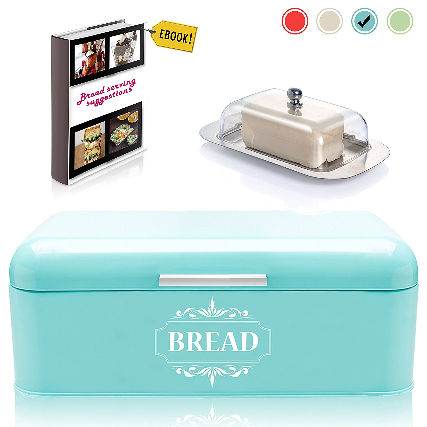 """Vintage Bread Box For Kitchen Stainless Steel Metal in Retro Turquoise Blue +"