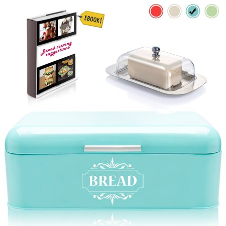 """""""Vintage Bread Box For Kitchen Stainless Steel Metal in Retro Turquoise Blue +"""
