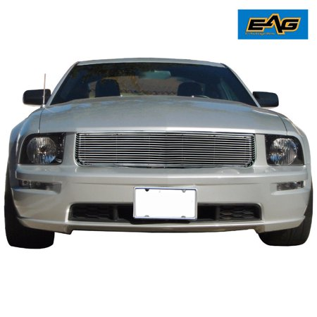 EAG 05-09 Ford Mustang V6 Chrome Front Hood Billet Packaged Grille with ABS Shell Billet Grille Shell Package