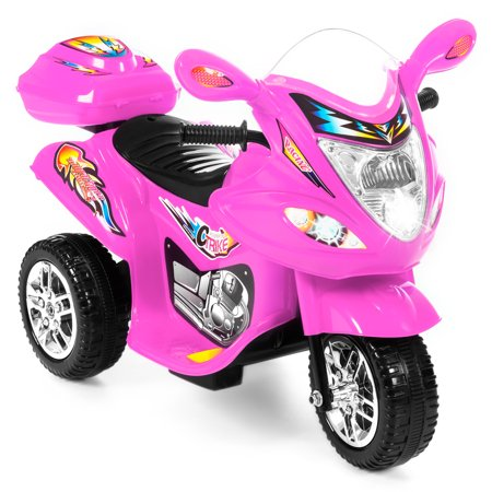 Best Choice Products 6v Kids Battery Ed Electric 3 Wheel Motorcycle Bike Ride On Toy W Led Lights Music Horn Storage Pink
