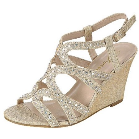 Bridal Evening Shoes (Fairway-35 Women Party Evening Dress Bridal Wedding Rhinestone Wedge Sandal Shoes Gold )