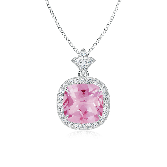 Mother's Day Jewelry Necklace Claw Set Pink Tourmaline Diamond Pendant with Milgrain Detailing in 950 Platinum (8mm Pink... by Angara.com