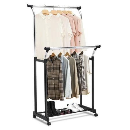 Costway Double Rail Adjustable Garment Rack Rolling Clothes Hanger Heavy Duty Portable