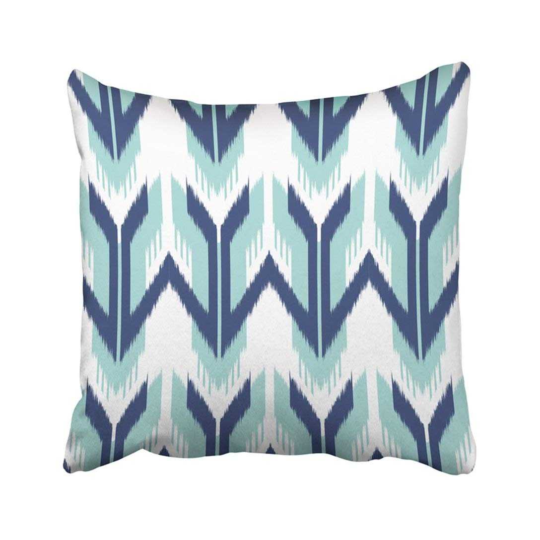 WOPOP Blue Abstract Ikat Design Classic Ethnic Geometric Graphic Modern Multicolor Pillowcase Pillow Cover 18x18 inches
