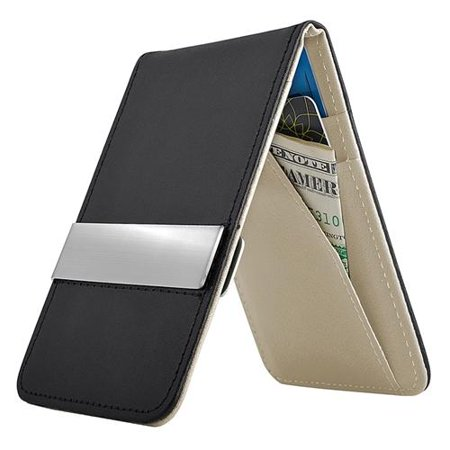 Black/Gray Mens Faux Genuine Leather Silver Money Clip Wallets ID Credit Card Holder (Gift (Money Clip Id Wallet)