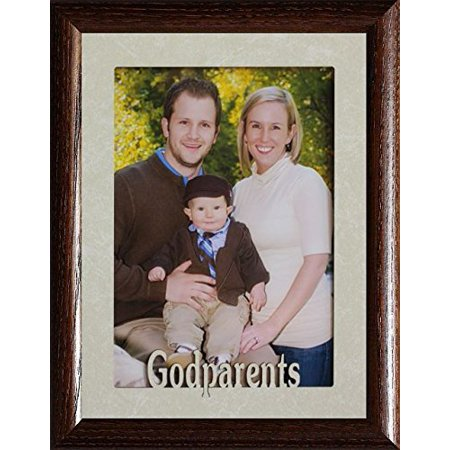 5X7 Jumbo ~ Godparents ~ Portrait Picture Frame ~ Laser Cream Marbled Matboard With Frame (Walnut) (Godparent Picture Frame)
