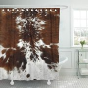 CYNLON Faux Tri Color Brown Cowhide Skin Wild Bathroom Decor Bath Shower Curtain 60x72 inch
