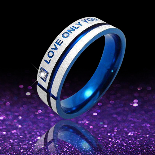 Girl12Queen Unisex Blue Love Only You Cross Titanium Steel Engagement Wedding Band Ring