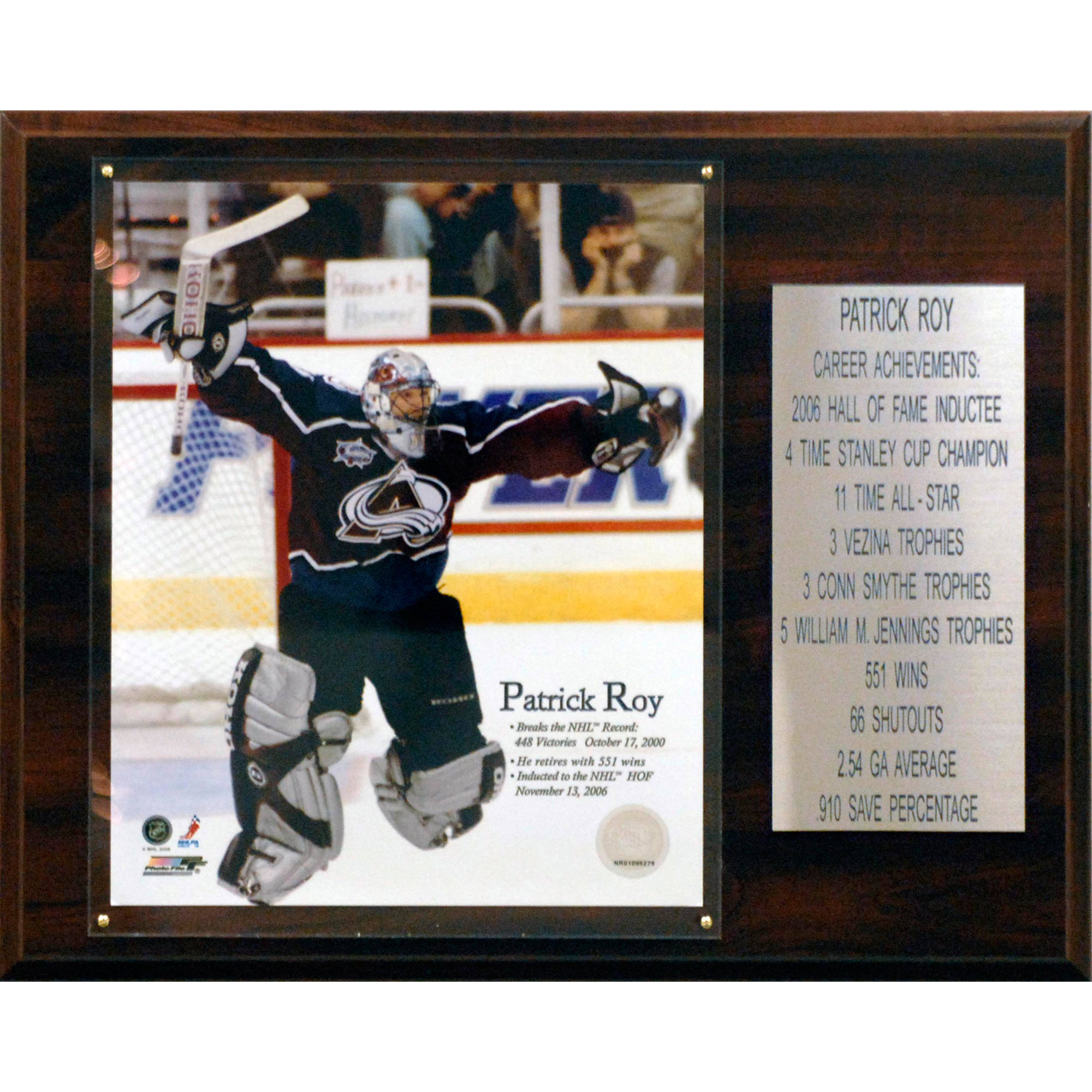 C&I Collectables NHL 12x15 Patrick Roy Colorado Avalanche Career Stat Plaque