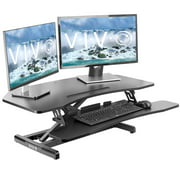 "VIVO Corner Height Adjustable Standing Desk Workstation | Monitor Riser 37"" Sit Stand Tabletop Converter (DESK-V037MC)"