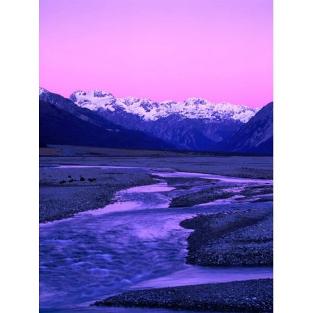 Waimakariri River Valley and Snow-Capped Mountains Behind, Arthur's Pass National Park, New Zealand Print Wall Art By Wes Walker ()