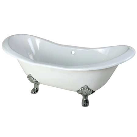 Aqua Eden 72 Inch Cast Iron Double Slipper Clawfoot Tub with Feet No F