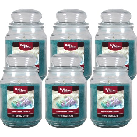 Better Homes and Gardens 18-Ounce Candles, Fresh Ocean Flower, 6-Pack